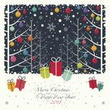 La Navidad de los colores juega la ejecución en ramas en el bosque ilustración del vector