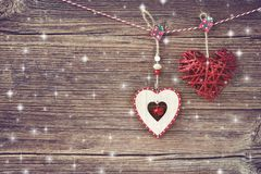 La Navidad Decoración de la Navidad en viejo fondo de madera Copie el espacio Imágenes de archivo libres de regalías