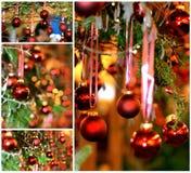 La Navidad decorationshanging en un árbol imagen de archivo libre de regalías
