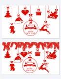 La Navidad del Año Nuevo Diversa ejecución determinada adorna el sombrero, los ciervos, el corazón, el regalo, el perro y el árbo Fotografía de archivo libre de regalías
