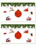 La Navidad del Año Nuevo Diversa ejecución determinada adorna el sombrero, los ciervos, el corazón, el regalo, el perro y el árbo Imagenes de archivo