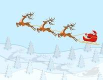 La Navidad del Año Nuevo Figura del montar a caballo de Santa Claus en un ciervo sobre un bosque spruce en color con las sombras  stock de ilustración