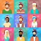 La Navidad del Año Nuevo de la colección de la gente del icono del perfil Imágenes de archivo libres de regalías
