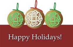 La Navidad del día de fiesta adorna la tarjeta Fotografía de archivo