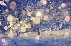 La Navidad del fondo en el paisaje del invierno Fotografía de archivo