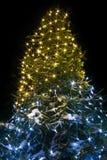 La Navidad del fondo y noche del árbol de abeto del Año Nuevo con las luces Imagenes de archivo