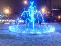 La Navidad del fontain del invierno y Año Nuevo Foto de archivo libre de regalías