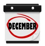 La Navidad del invierno del mes del cambio del calendario de pared de la palabra de diciembre Imágenes de archivo libres de regalías