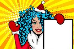 La Navidad del saludo del arte pop de la mujer Imagenes de archivo
