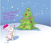 La Navidad del saludo y el Año Nuevo cardan el fondo de la Navidad con f Imágenes de archivo libres de regalías