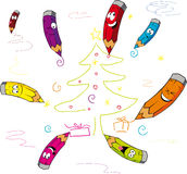 La Navidad divertida de la pintura de la historieta de los creyones - vector ilustración del vector