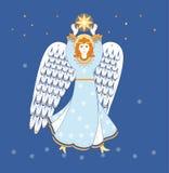 La Navidad, el ángel camina el cielo estrellado Fotos de archivo libres de regalías