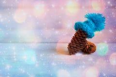 La Navidad: el terrón en el sombrero azul, decoración para la Navidad tr Imagen de archivo