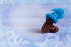 La Navidad: el terrón en el sombrero azul, decoración para la Navidad tr Fotos de archivo libres de regalías