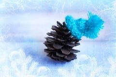 La Navidad: el terrón en el sombrero azul, decoración para la Navidad tr Foto de archivo libre de regalías