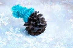 La Navidad: el terrón en el sombrero azul, decoración para la Navidad tr Imagen de archivo libre de regalías