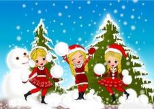 La Navidad embroma nieve ilustración del vector