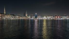 La Navidad en Alster interno en Hamburgo almacen de video