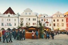 La Navidad en Cesky Krumlov, República Checa, Europa Imagen de archivo