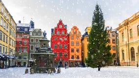 La Navidad en Estocolmo Cuadrado de Stortorget adornado para la Navidad Fotos de archivo