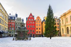 La Navidad en Estocolmo Cuadrado de Stortorget adornado para la Navidad Fotografía de archivo