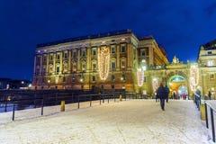 La Navidad en Estocolmo palacio real en el centro de Estocolmo, Foto de archivo