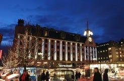 La Navidad en Hötorget en Estocolmo Imagenes de archivo