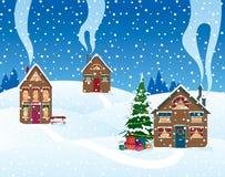 La Navidad en la aldea stock de ilustración