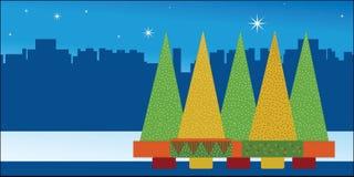 La Navidad en la ciudad stock de ilustración