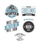 La Navidad en la playa Sistema de diseños de la tipografía del vector Fotos de archivo