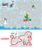 La Navidad en los pingüinos stock de ilustración