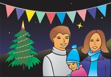 La Navidad en montañas stock de ilustración