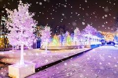 La Navidad en Moscú Decoración fabulosa del cuadrado de Pushkin en el MES Fotografía de archivo