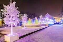 La Navidad en Moscú Decoración fabulosa del cuadrado de Pushkin en el MES Foto de archivo