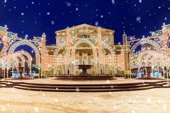 La Navidad en Moscú decoración festiva del teatro de Bolshoi Imágenes de archivo libres de regalías