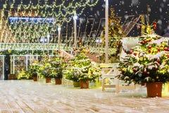 La Navidad en Moscú Decoración hermosa del ` s del Año Nuevo de Moscú s Foto de archivo libre de regalías