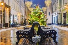 La Navidad en Moscú Festivamente adornado para la calle del Año Nuevo Fotografía de archivo