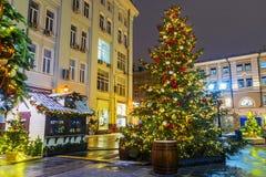 La Navidad en Moscú Festivamente adornado para la calle del Año Nuevo Imagen de archivo libre de regalías