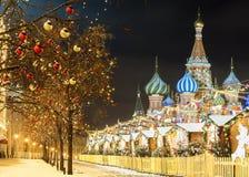La Navidad en Moscú ` S del Año Nuevo justo en Plaza Roja Fotografía de archivo libre de regalías