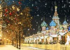 La Navidad en Moscú ` S del Año Nuevo justo en Plaza Roja Fotos de archivo