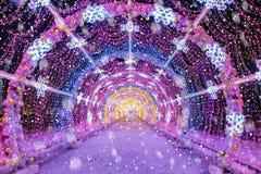 La Navidad en Moscú túnel ligero de secuencias en las calles de M Imagen de archivo