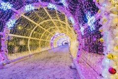 La Navidad en Moscú Túnel ligero en el bulevar de Tverskoy Fotos de archivo