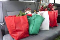 La Navidad en Seat trasero Fotografía de archivo