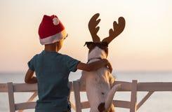 La Navidad en un concepto de la playa con el muchacho que lleva el sombrero y el perro de Papá Noel con la venda de las astas del fotografía de archivo libre de regalías
