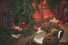 La Navidad en una montaña Atmósfera de la Navidad Imagen de archivo libre de regalías