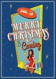 La Navidad es perno del ejemplo vith del vector que viene encima de la mujer de Papá Noel en estilo retro Imagen de archivo libre de regalías
