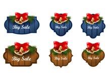 La Navidad etiqueta decoraciones aisladas Imagen de archivo