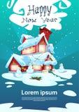 La Navidad Eve Holiday House Winter Snow, tarjeta de felicitación del Año Nuevo del regalo del muñeco de nieve Imagenes de archivo