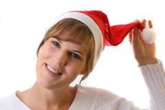 La Navidad excesiva feliz de la mujer Fotografía de archivo libre de regalías
