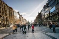 La Navidad famosa del advenimiento adornó el cuadrado de Wenceslao en Praga Fotografía de archivo libre de regalías